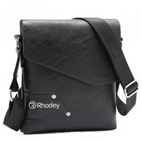 Rhodey Sulppai Tas Selempang Pria Messenger Bag Bahan Kulit - PI578 - Black