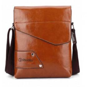 Rhodey Sulppai Tas Selempang Pria Messenger Bag Bahan Kulit - PI578 - Black - 2