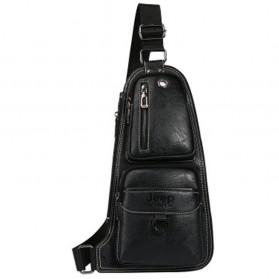 JEEP Tas Selempang Kulit Sling Retro Vintage - 6196 - Black
