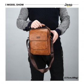 Jeep Tas Selempang Messenger Bag Kulit Maskulin Pria - 6621-2 - Black - 2
