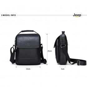 Jeep Tas Selempang Messenger Bag Kulit Maskulin Pria - 6621-2 - Black - 4