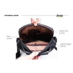 Jeep Tas Selempang Messenger Bag Kulit Maskulin Pria - 6621-2 - Black - 8