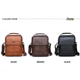 Jeep Tas Selempang Messenger Bag Kulit Maskulin Pria - 6621-2 - Black - 12