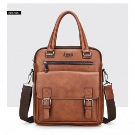 Trend Fashion Pria Terbaru - Jeep Tas Selempang Messenger Bag Kulit Maskulin Pria - 8001 - Brown