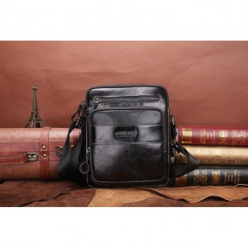 Contacts Tas Selempang Pria Messenger Bag Bahan Kulit - MB070 - Black - 5