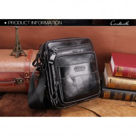 Contacts Tas Selempang Pria Messenger Bag Bahan Kulit - MB070 - Black - 6