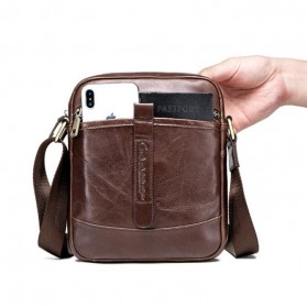 Contacts Tas Selempang Pria Messenger Bag Bahan Kulit - MB110 - Dark Brown - 3