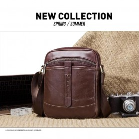 Contacts Tas Selempang Pria Messenger Bag Bahan Kulit - MB110 - Dark Brown - 7
