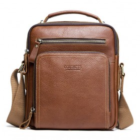 Contacts Tas Selempang Pria Messenger Bag Bahan Kulit - MB108 - Brown