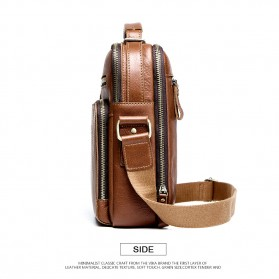 Contacts Tas Selempang Pria Messenger Bag Bahan Kulit - MB108 - Brown - 3