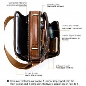 Contacts Tas Selempang Pria Messenger Bag Bahan Kulit - MB108 - Brown - 4