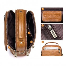 Contacts Tas Selempang Pria Messenger Bag Bahan Kulit - MB095 - Coffee - 5