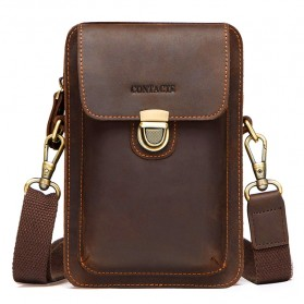 Contacts Tas Selempang Pria Messenger Bag Bahan Kulit - MB100 - Coffee