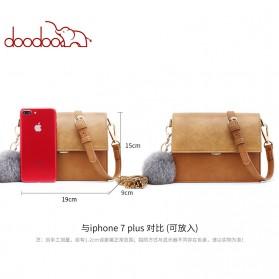Doodoo Tas Selempang Messenger Bag - Brown - 4