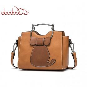 Doodoo Tas Selempang Messenger Bag Model Kucing - Brown