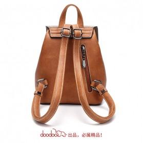 Doodoo Tas Ransel Wanita Model Vintage Retro Backpack - Black - 3