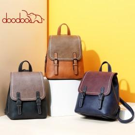 Doodoo Tas Ransel Wanita Model Vintage Retro Backpack - Black - 5