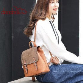 Doodoo Tas Ransel Wanita Model Vintage Retro Backpack - Black - 7