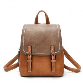 Doodoo Tas Ransel Wanita Model Vintage Retro Backpack - Brown