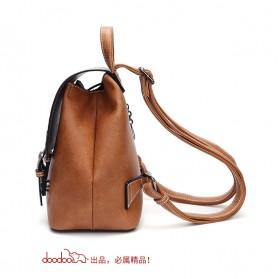 Doodoo Tas Ransel Wanita Model Vintage Retro Backpack - Brown - 2