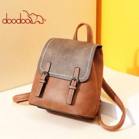 Doodoo Tas Ransel Wanita Model Vintage Retro Backpack - Brown - 5