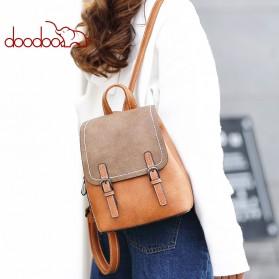Doodoo Tas Ransel Wanita Model Vintage Retro Backpack - Brown - 6