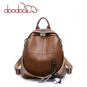 Doodoo Tas Ransel Wanita Model Vintage Retro 2 Way Backpack - Brown