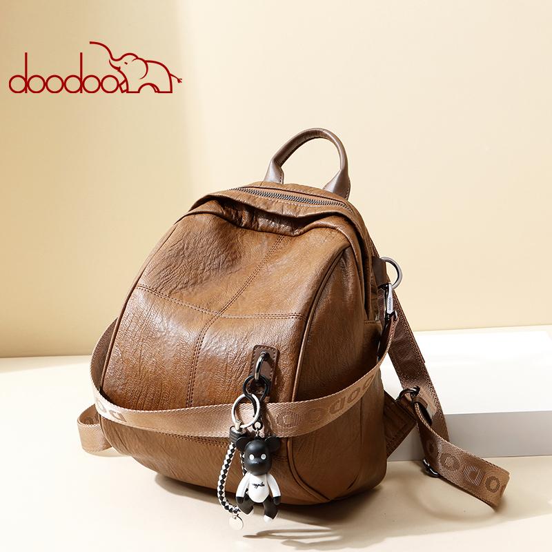Doodoo Tas Ransel Wanita Model Vintage Retro 2 Way Backpack - Brown -