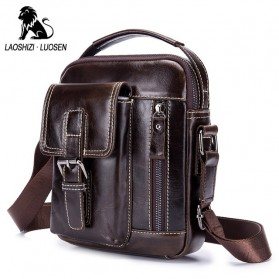 LAOSHIZI LUOSEN Tas Selempang Pria Messenger Bag Bahan Kulit - 91307 - Coffee - 1