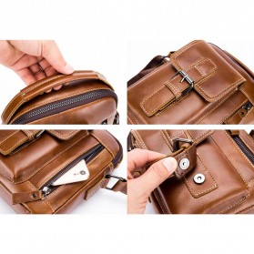 LAOSHIZI LUOSEN Tas Selempang Pria Messenger Bag Bahan Kulit - 91307 - Coffee - 3