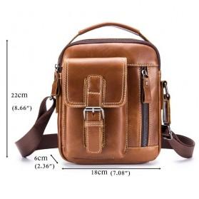 LAOSHIZI LUOSEN Tas Selempang Pria Messenger Bag Bahan Kulit - 91307 - Coffee - 5