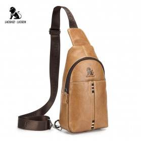 LAOSHIZI LUOSEN Tas Selempang Pria Crossbody Bag Bahan Kulit - 91001 - Yellowish Brown