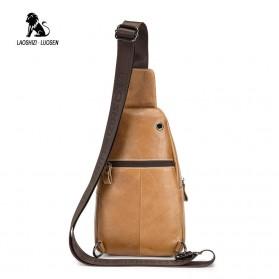 LAOSHIZI LUOSEN Tas Selempang Pria Crossbody Bag Bahan Kulit - 91001 - Yellowish Brown - 2