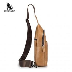LAOSHIZI LUOSEN Tas Selempang Pria Crossbody Bag Bahan Kulit - 91001 - Yellowish Brown - 3