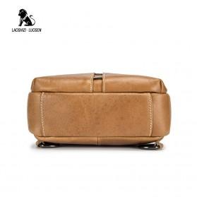 LAOSHIZI LUOSEN Tas Selempang Pria Crossbody Bag Bahan Kulit - 91001 - Yellowish Brown - 4