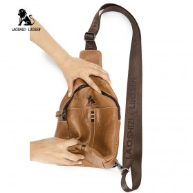 LAOSHIZI LUOSEN Tas Selempang Pria Crossbody Bag Bahan Kulit - 91001 - Yellowish Brown - 5