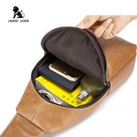 LAOSHIZI LUOSEN Tas Selempang Pria Crossbody Bag Bahan Kulit - 91001 - Yellowish Brown - 6