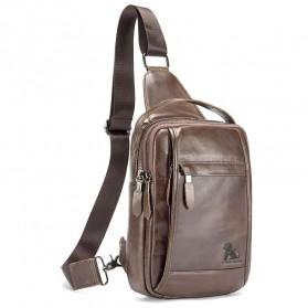 LAOSHIZI LUOSEN Tas Selempang Pria Crossbody Bag Bahan Kulit - 91003 - Coffee