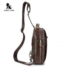 LAOSHIZI LUOSEN Tas Selempang Pria Crossbody Bag Bahan Kulit - 91003 - Coffee - 2