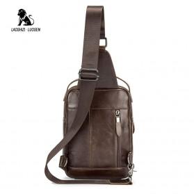 LAOSHIZI LUOSEN Tas Selempang Pria Crossbody Bag Bahan Kulit - 91003 - Coffee - 3