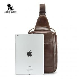LAOSHIZI LUOSEN Tas Selempang Pria Crossbody Bag Bahan Kulit - 91003 - Coffee - 4