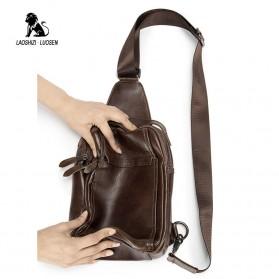 LAOSHIZI LUOSEN Tas Selempang Pria Crossbody Bag Bahan Kulit - 91003 - Coffee - 6