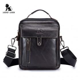 LAOSHIZI LUOSEN Tas Selempang Pria Messenger Bag Bahan Kulit - 91305 - Dark Brown