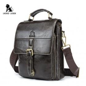 LAOSHIZI LUOSEN Tas Selempang Pria Messenger Bag Bahan Kulit - 91205 - Coffee