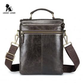 LAOSHIZI LUOSEN Tas Selempang Pria Messenger Bag Bahan Kulit - 91205 - Coffee - 2