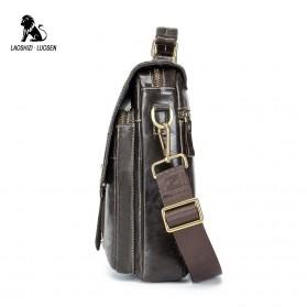 LAOSHIZI LUOSEN Tas Selempang Pria Messenger Bag Bahan Kulit - 91205 - Coffee - 3