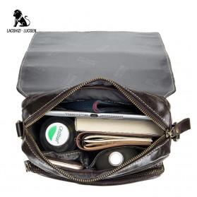 LAOSHIZI LUOSEN Tas Selempang Pria Messenger Bag Bahan Kulit - 91205 - Coffee - 4