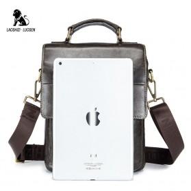 LAOSHIZI LUOSEN Tas Selempang Pria Messenger Bag Bahan Kulit - 91205 - Coffee - 5