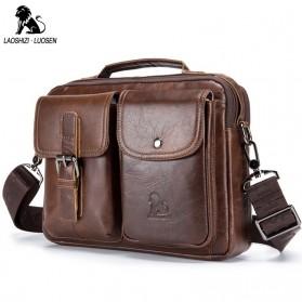 LAOSHIZI LUOSEN Tas Selempang Pria Messenger Bag Bahan Kulit - 91203 - Brown - 1