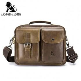 LAOSHIZI LUOSEN Tas Selempang Pria Messenger Bag Bahan Kulit - 91203 - Brown - 2